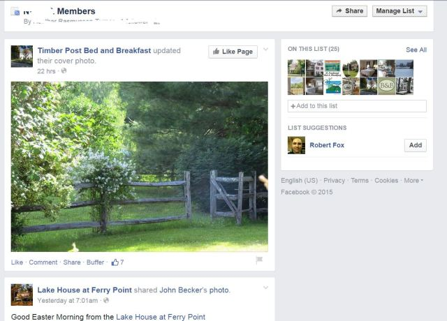 Example of a Facebook Bed and Breakfast Association Member list aggregate